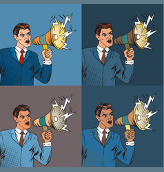 businessman with megaphone pop art style vector image