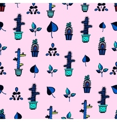 Cactuses pattern with leaves vector
