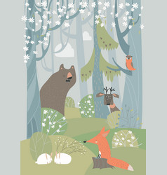 Cartoon cute animals in spring blossom forest vector