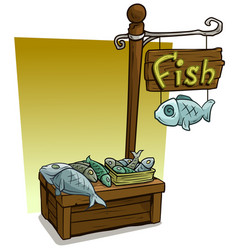 Cartoon fish vendor booth market wooden stand vector