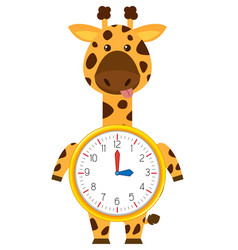 Cartoon giraffe on clock template vector