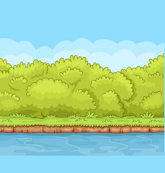 Cartoon river bank with dense bushes vector