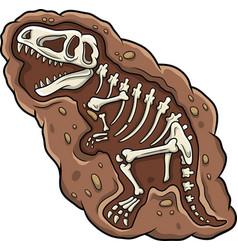 cartoon t-rex dinosaur fossil vector image
