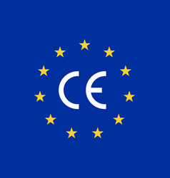 ce mark europe flag logo euro certificate vector image