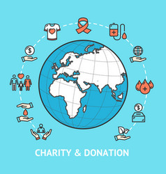 charity donation with map globe vector image