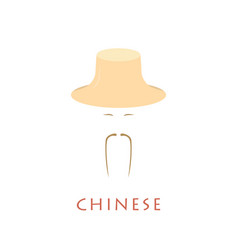 Chinese man in traditional hat vector