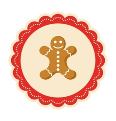Christmas Winter Lacy Label Icon with Gingerbread vector
