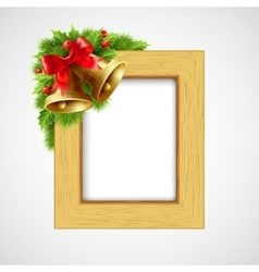 Christmas wood frame with Bell and holly berry vector