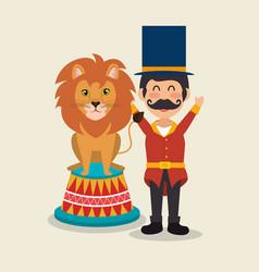 Circus presenter with lion vector
