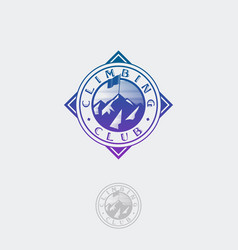 Climbing club flag peaks logo circle vector