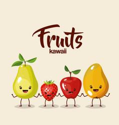 Color background of set fruit kawaii holding hands vector