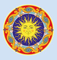 colorful ethnic round ornamental mandala sun vector image