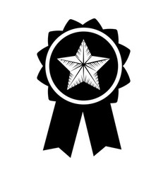 Contour emblem with star inside and ribbon design vector