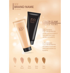 Cosmetic ads template make up liquid foundation vector