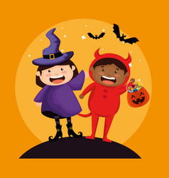 Couple kids dressed up as a witch and little devil vector