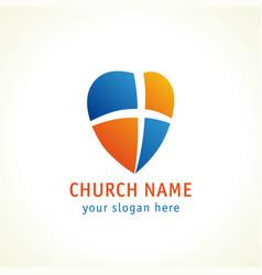 Cross on shield heart church logo vector