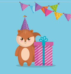 Cute and little chipmunk with gift vector