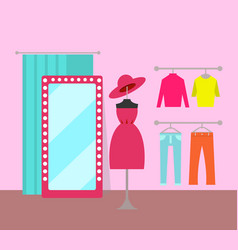different clothing in cozy market color banner vector image