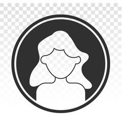Female user account profile circle flat icon vector