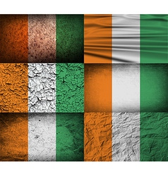 Flag of Cote divoire with old texture vector