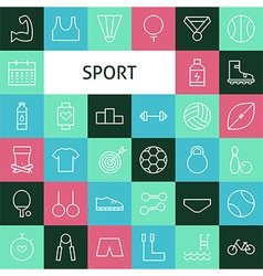 Flat Line Art Modern Sports and Recreation Icons vector image