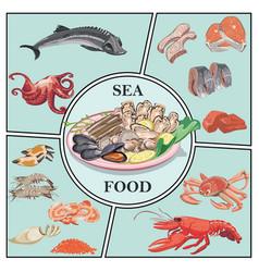 flat sea food concept vector image