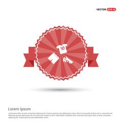 football kit icon - red ribbon banner vector image