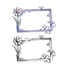 Frame with flowers sketch vector image