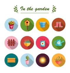 Garden flat icons white background vector