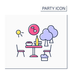 Garden party color icon vector