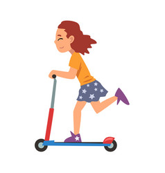 Girl riding kick scooter eco transport vector