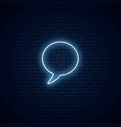 Glowing neon empty speech bubble frame circle vector