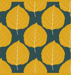 Gold aspen leaf seamless pattern background vector