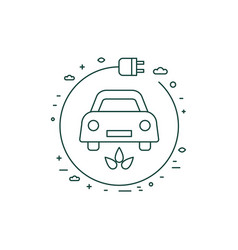 green electric car with charger line icon vector image