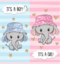 Greeting card with cute elephant boy and girl vector