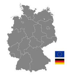 Grey political map germany vector