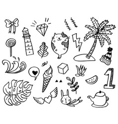 Hand-drawn cute doodle set isolated on white vector