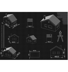 house drawing on a black background vector image
