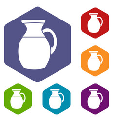 jug of milk icons set vector image