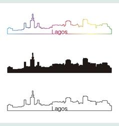 lagos skyline linear style with rainbow vector image