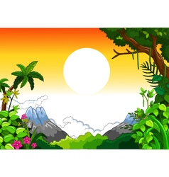 landscape with sunset background vector image