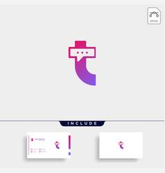 Letter t chat talk logo template design vector