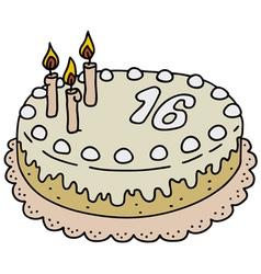 Light birthday cake vector