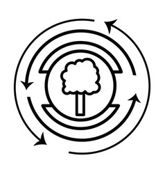 Line emblem of tree symbol to ecology care vector