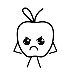 line kawaii cute angry apple fruit vector image