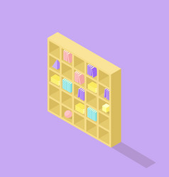 low poly isometric bookcase realistic icon vector image