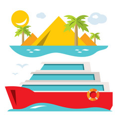 Luxury cruise ship flat style colorful vector