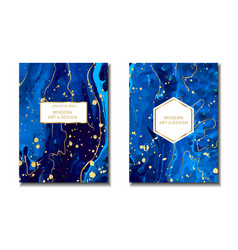 magic blue cards with sparkling glitter and gold vector image