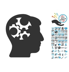 Mind Gears Icon With 2017 Year Bonus Pictograms vector