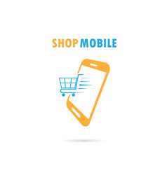 mobile phone with online shopping vector image